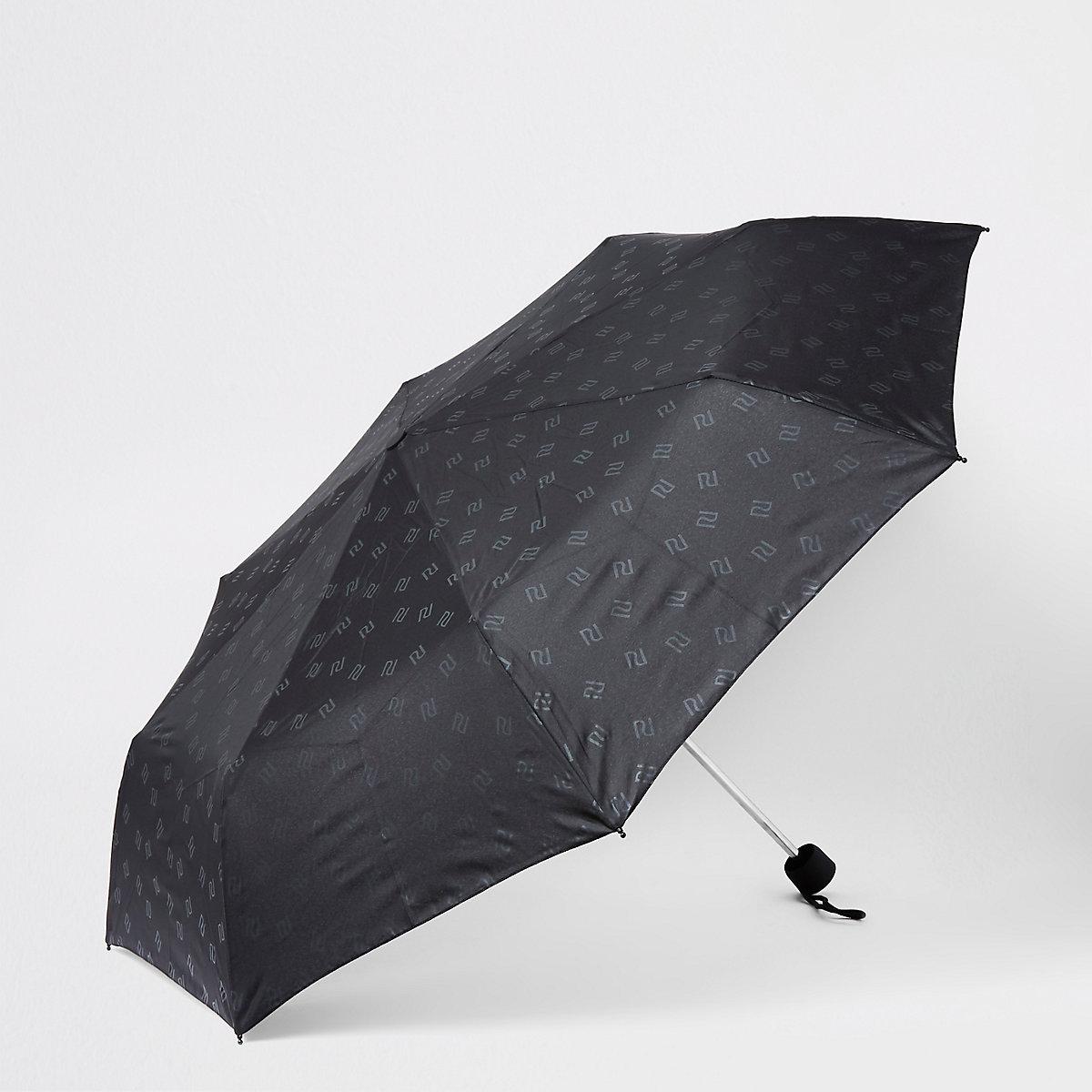 Zwarte compacte paraplu met RI-logo