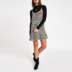 Beige leopard print frill hem slip dress