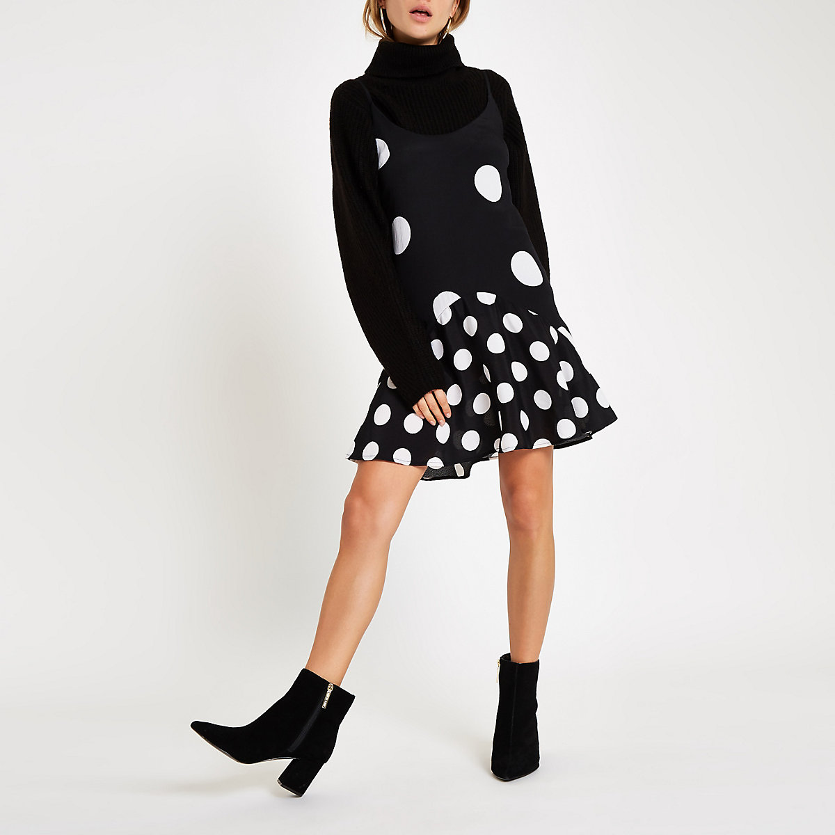 Black polka dot frill hem slip dress