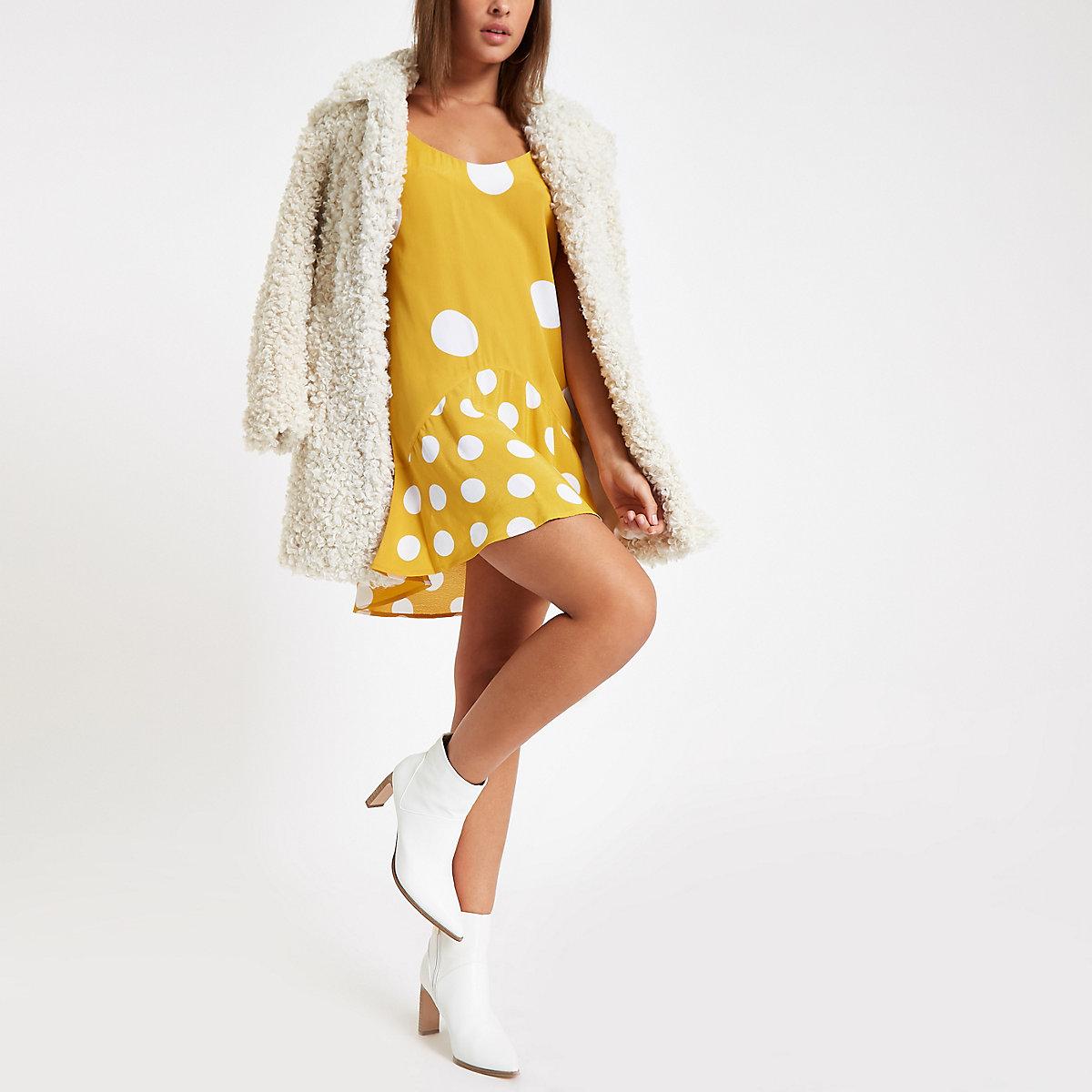 Yellow spot print frill hem slip dress