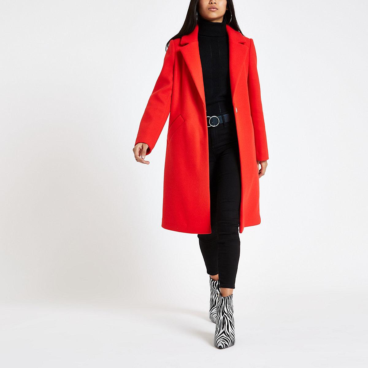 Long Femme – amp; Vestes Droit Manteau Petite Manteaux Rouge UPxqnTwvF