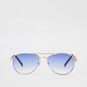 Lunettes de soleil aviateur dorées à verres bleu clair