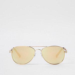Lunettes de soleil aviateur dorées à verres miroir
