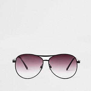 Zwarte pilotenzonnebril met paarse glazen
