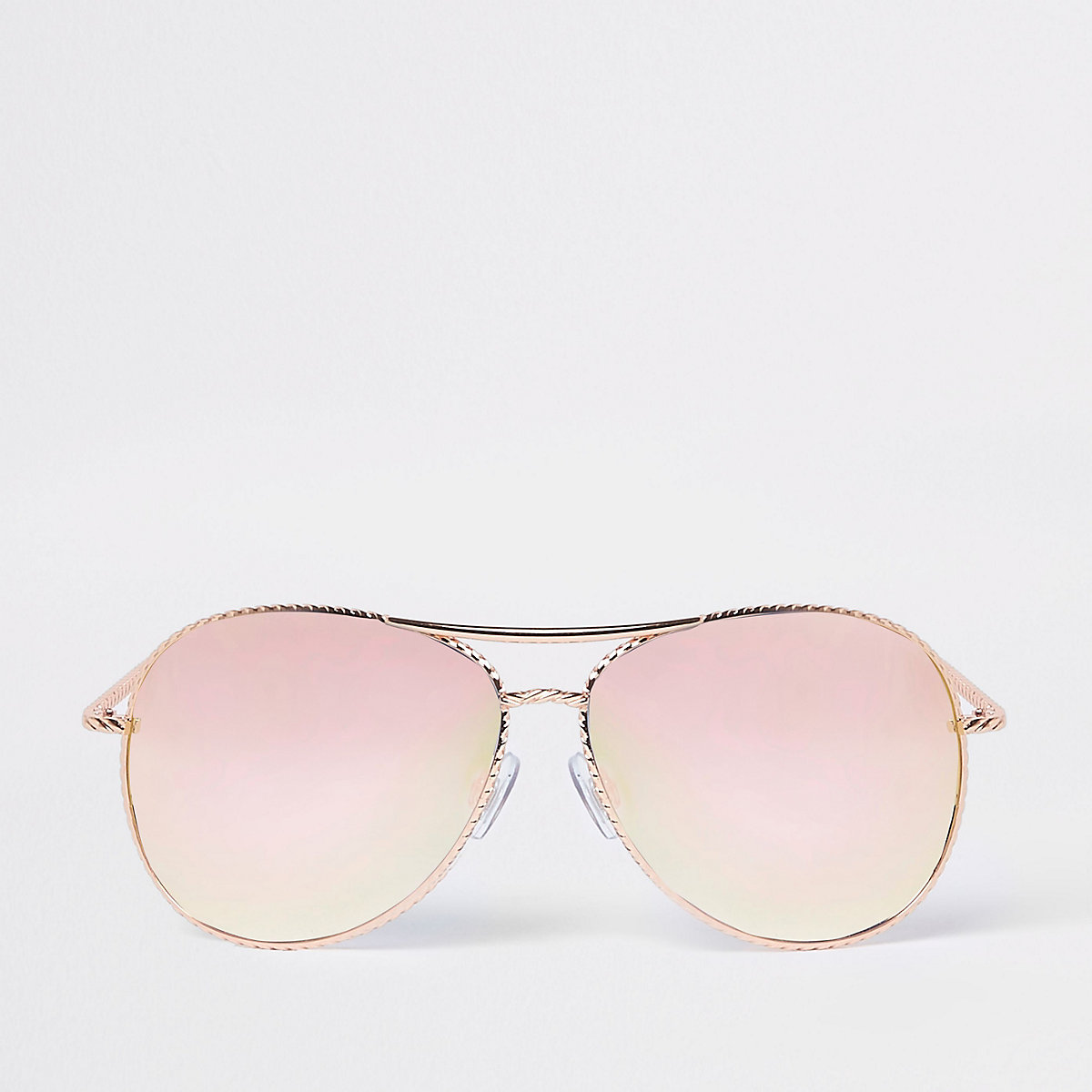 Rose gold twisted mirror aviator sunglasses