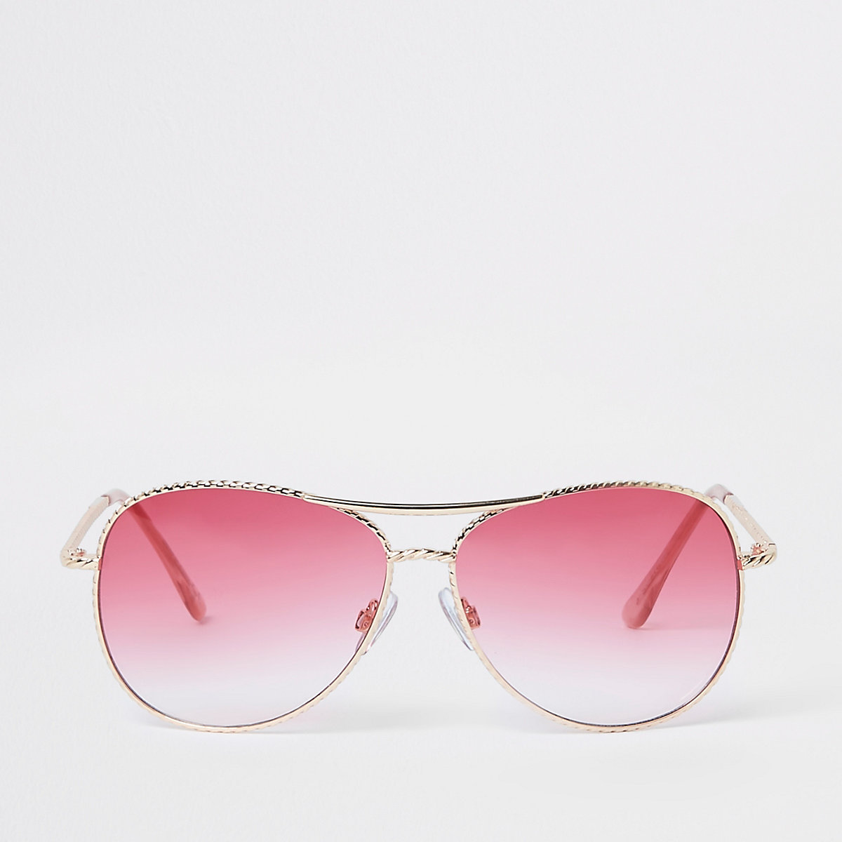 Gold twisted pink lens aviator sunglasses