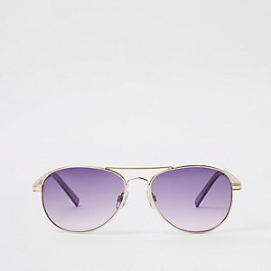 Gold tone purple chain aviator sunglasses