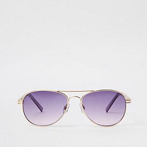 Lunettes de soleil aviateur dorées à chaîne violette