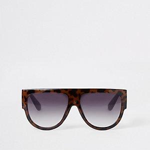 Braune Visor-Sonnenbrille mit Print
