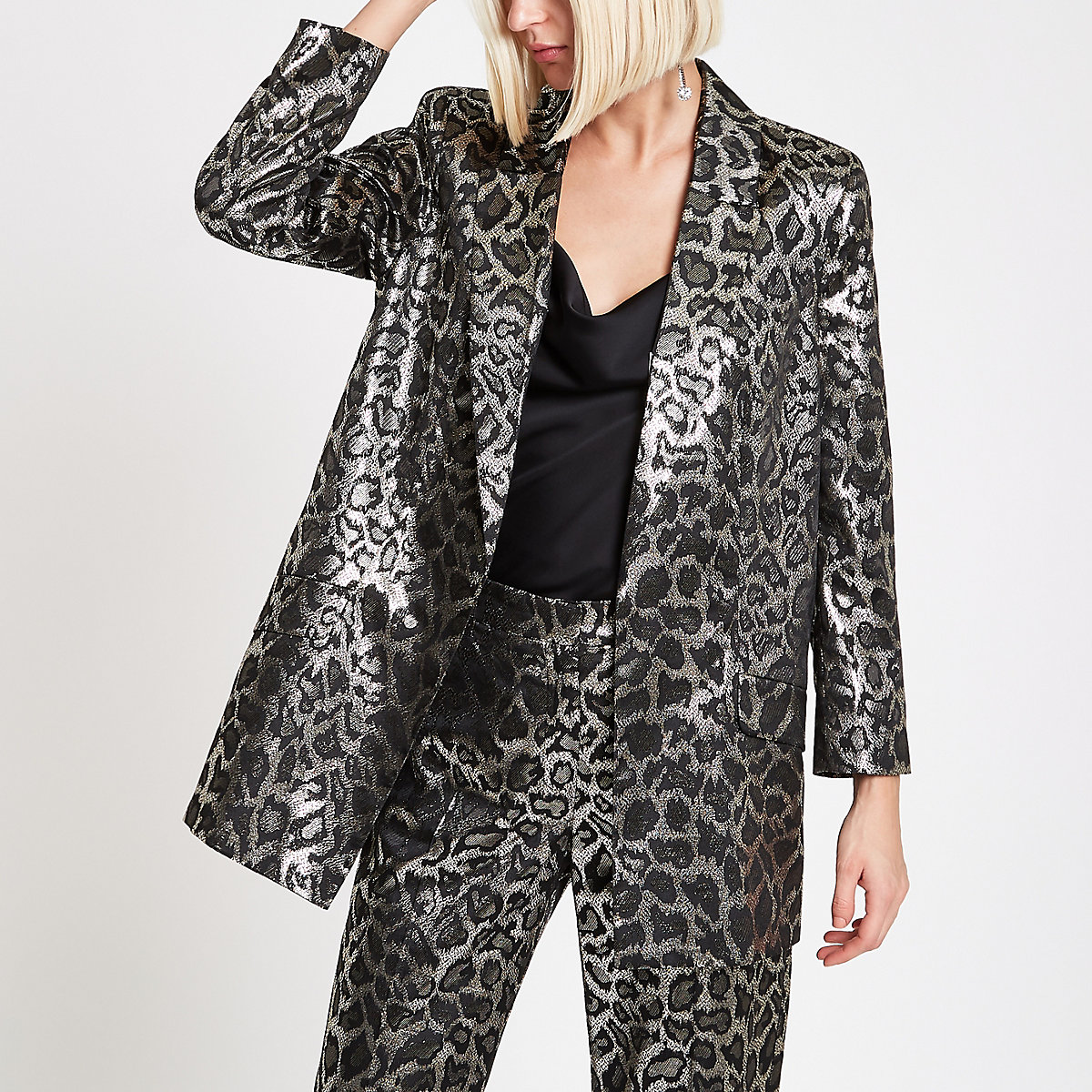 Brown metallic leopard print blazer