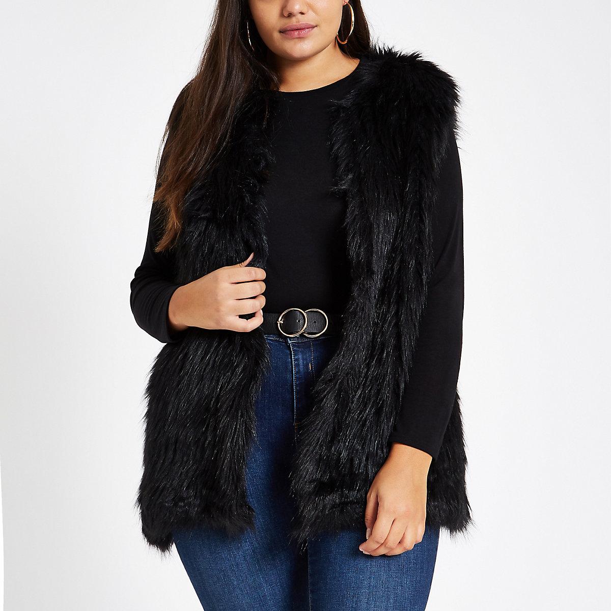 Plus black faux fur vest