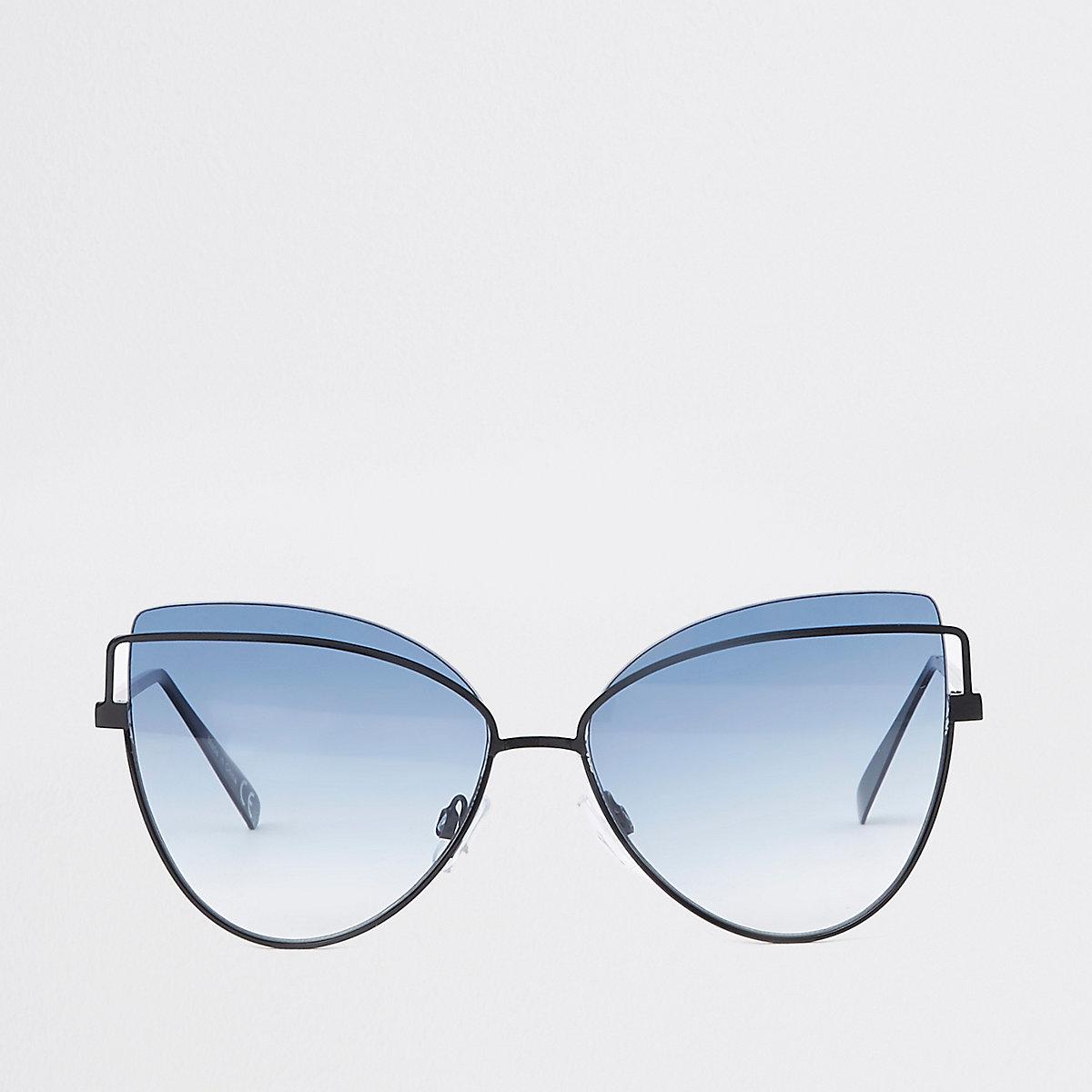 Zwarte cat-eye-zonnebril met blauwe glazen