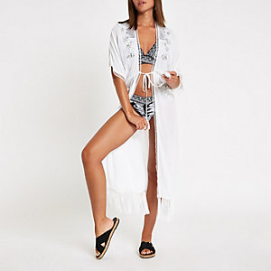 White sequin embellished tassel beach kaftan