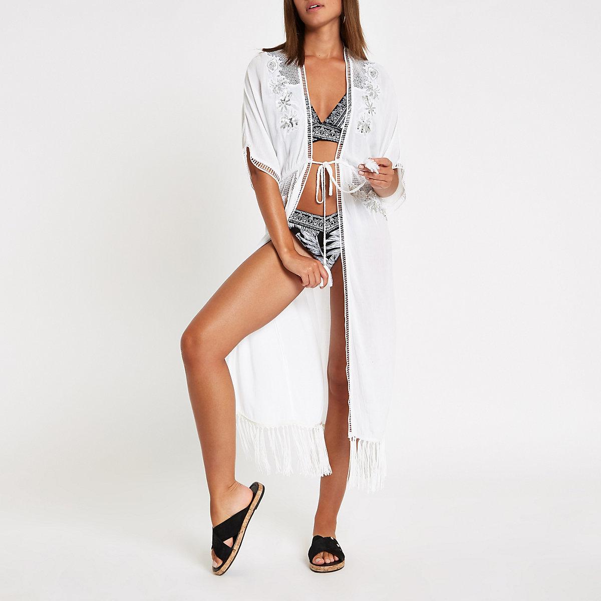White sequin embellished tassel beach kaftan