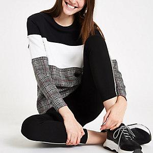 Black color block check print sweatshirt