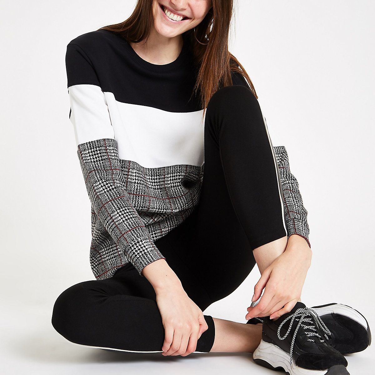 Black color block check print sweatshirt
