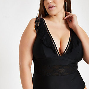 Plus Black lace insert plunge swimsuit