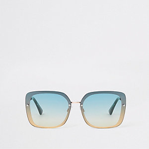 Gold tone green aviator sunglasses