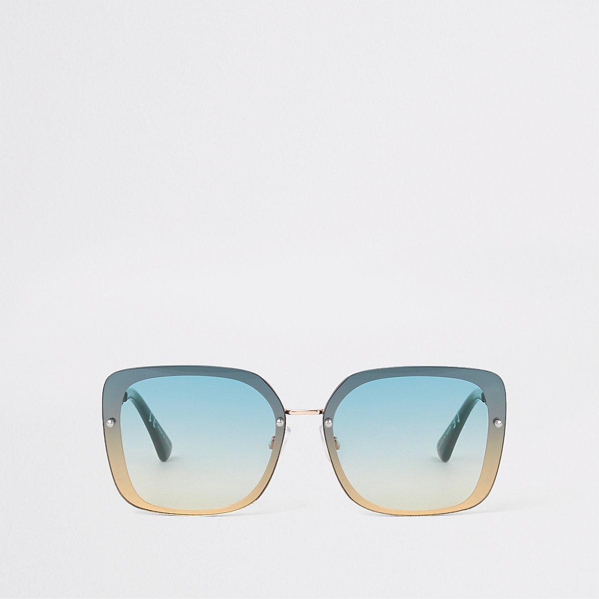 Gold tone green aviator sunglasses
