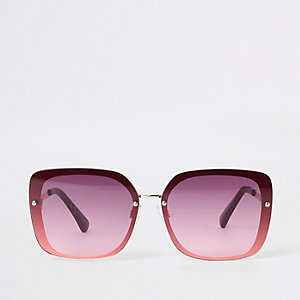 Gold tone dark red aviator sunglasses