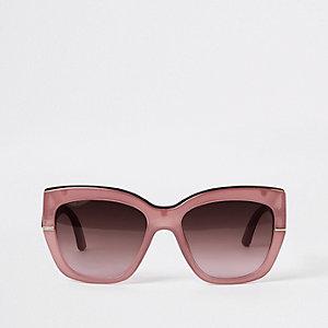Roze glamour zonnebril met goudkleurige rand