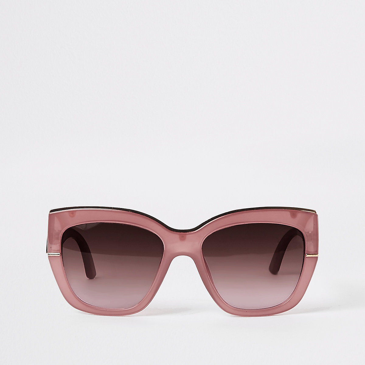 Pink gold tone trim glam sunglasses