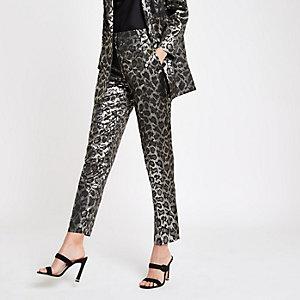Black leopard print jacquard pants