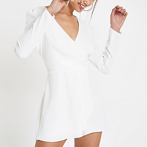 White wrap front tie back playsuit
