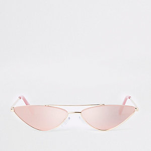 Gold tone pink mirrored pointed sunglasses