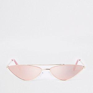 Roze smalle zonnebril met emaille-metalen montuur