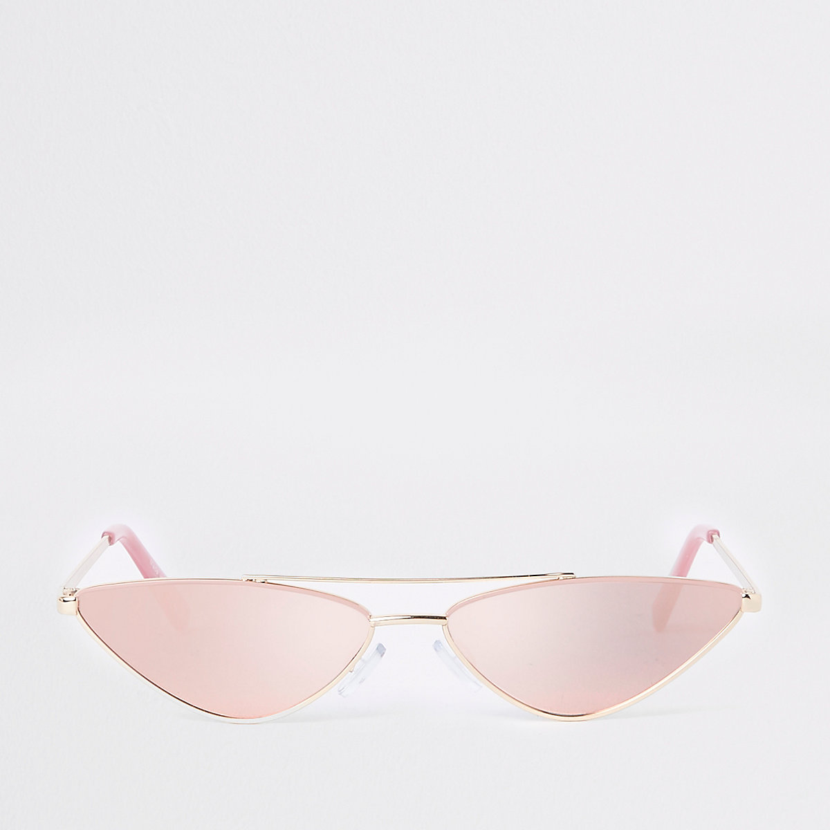 pink enamel metal frame slim sunglasses