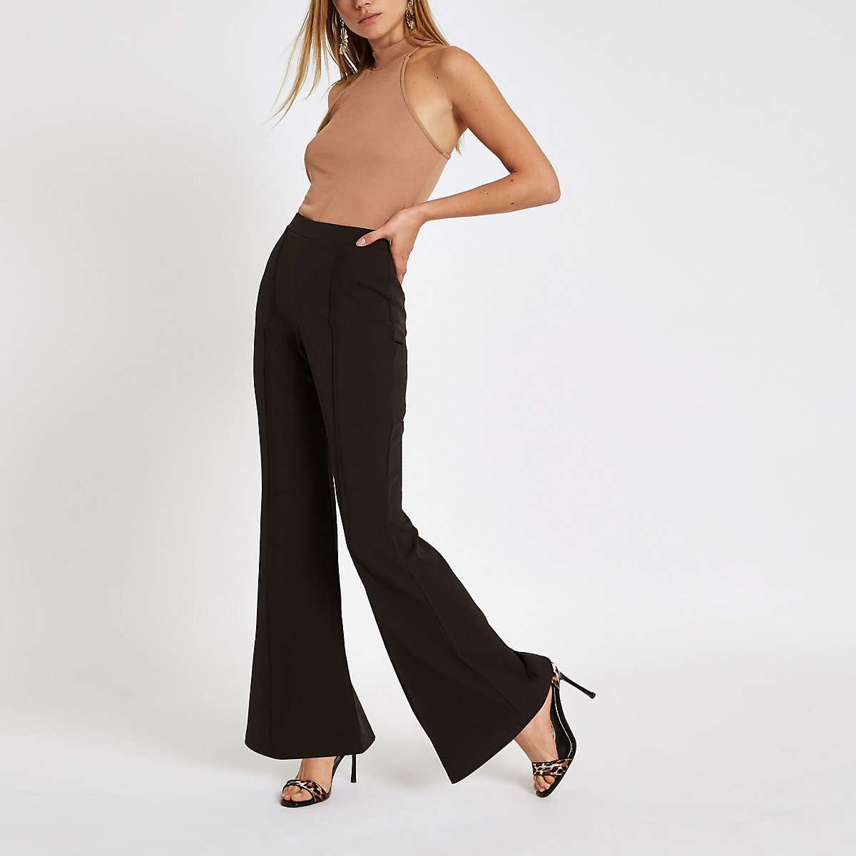 Brown flared leg jersey trousers