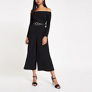Petite black ribbed bardot wide leg jumpsuit