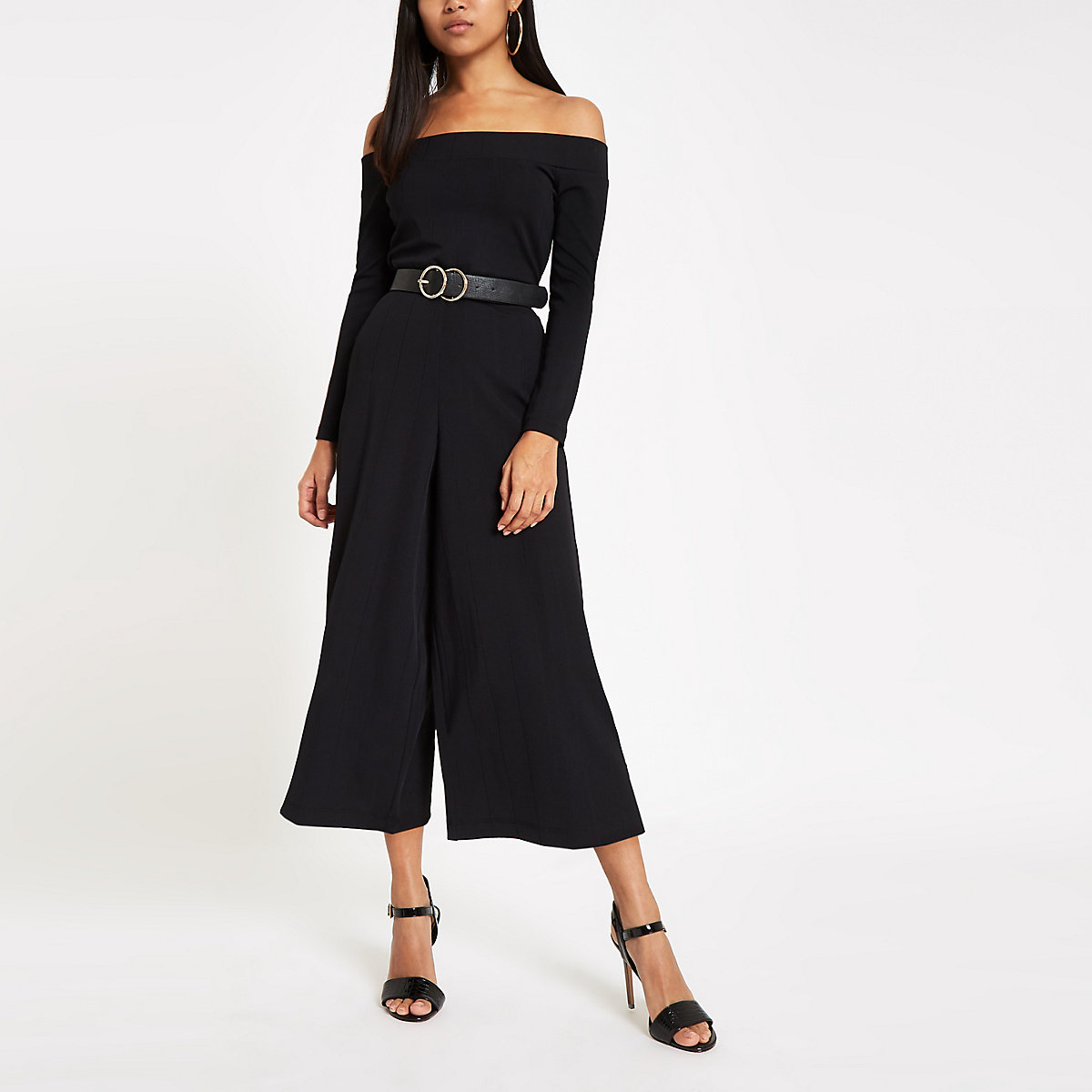 Petite black ribbed bardot wide leg jumpsuit