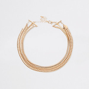 Gold tone layered chain choker