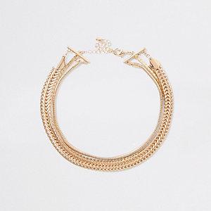 Collier ras du cou doré avec chaînes superposées
