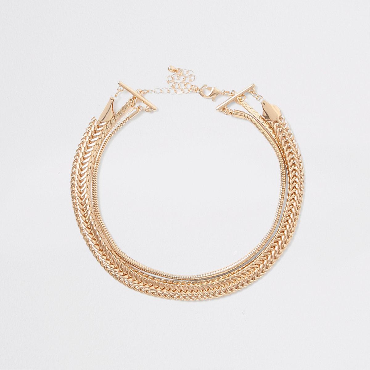 Gold tone layered chain choker