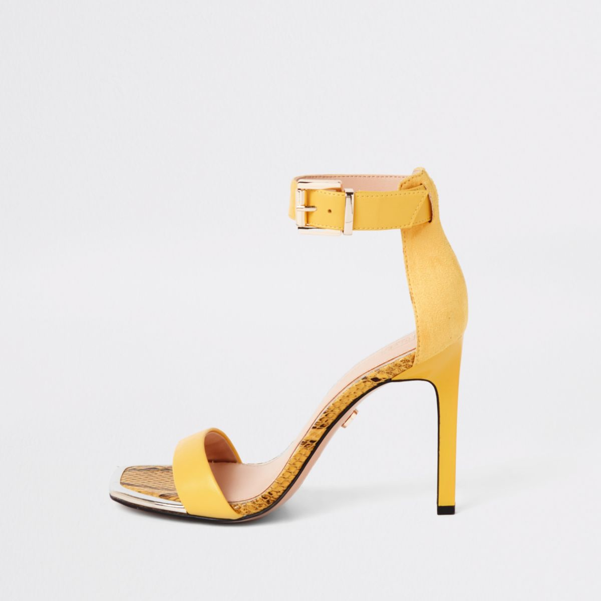 Yellow barely there square toe sandals
