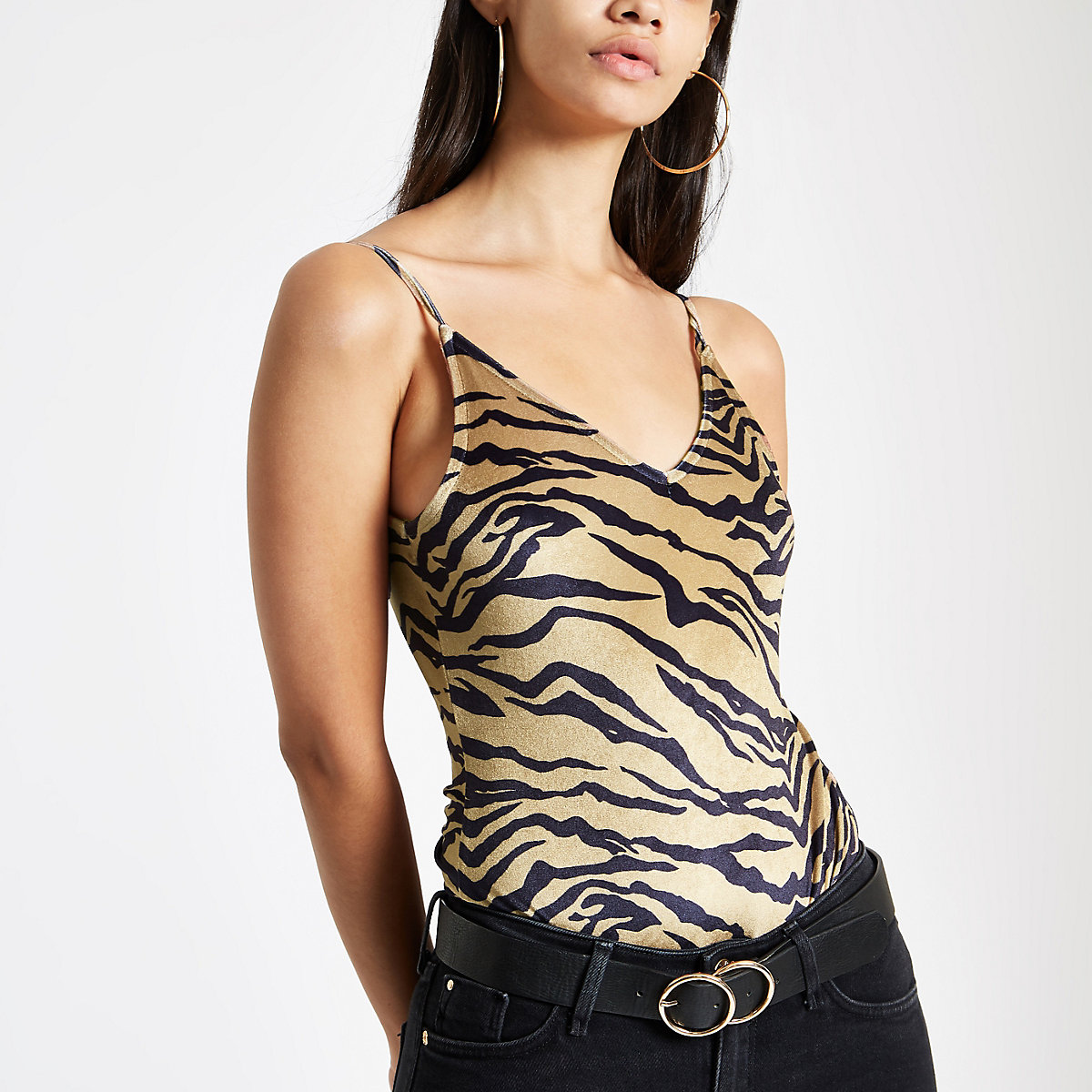 Brown tiger print velvet cami bodysuit