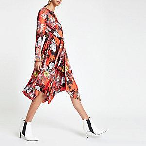 Oranje midi-jurk met bloemenprint en strikceintuur