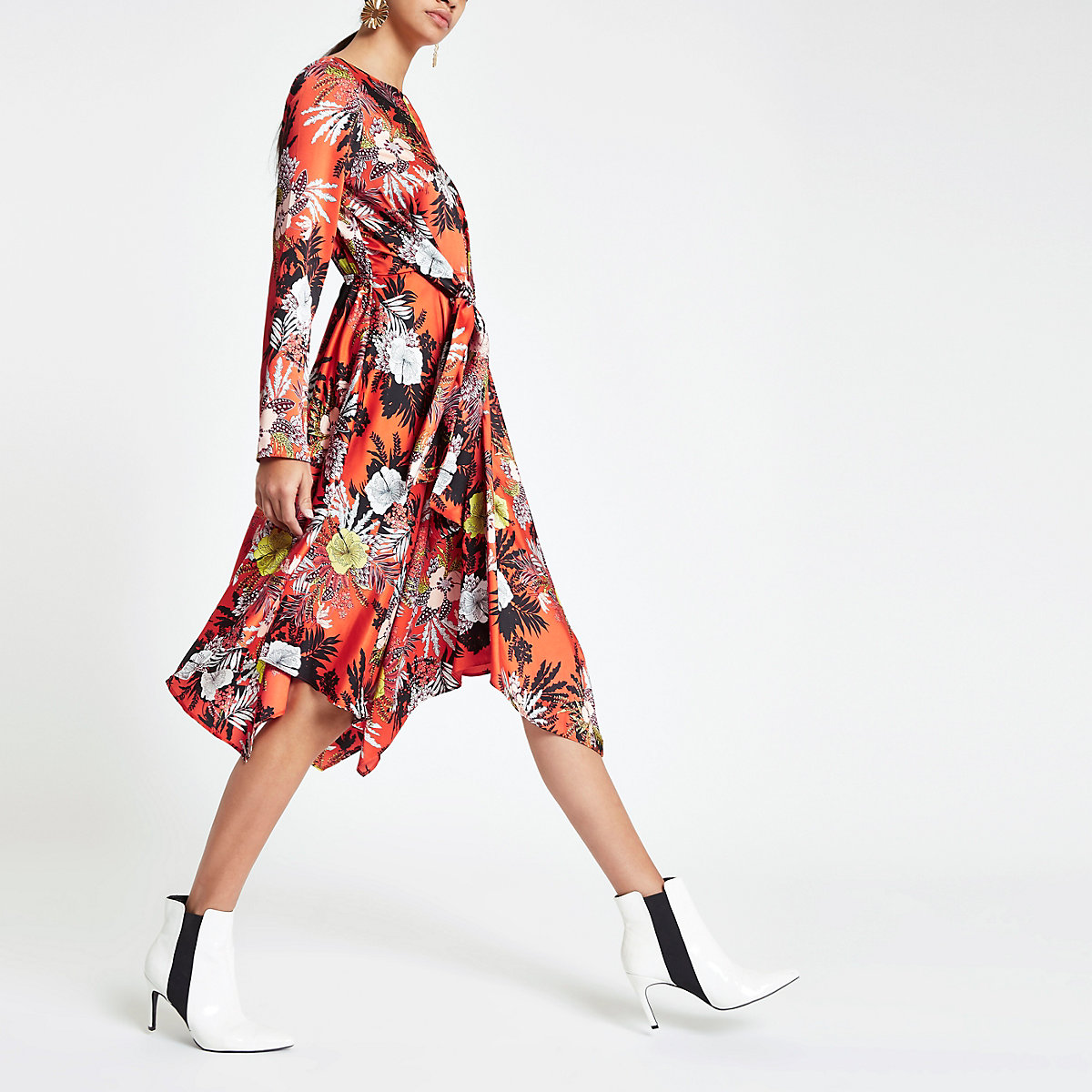 Orange floral print tie waist midi dress