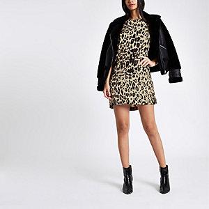 Robe trapèze à imprimé léopard marron