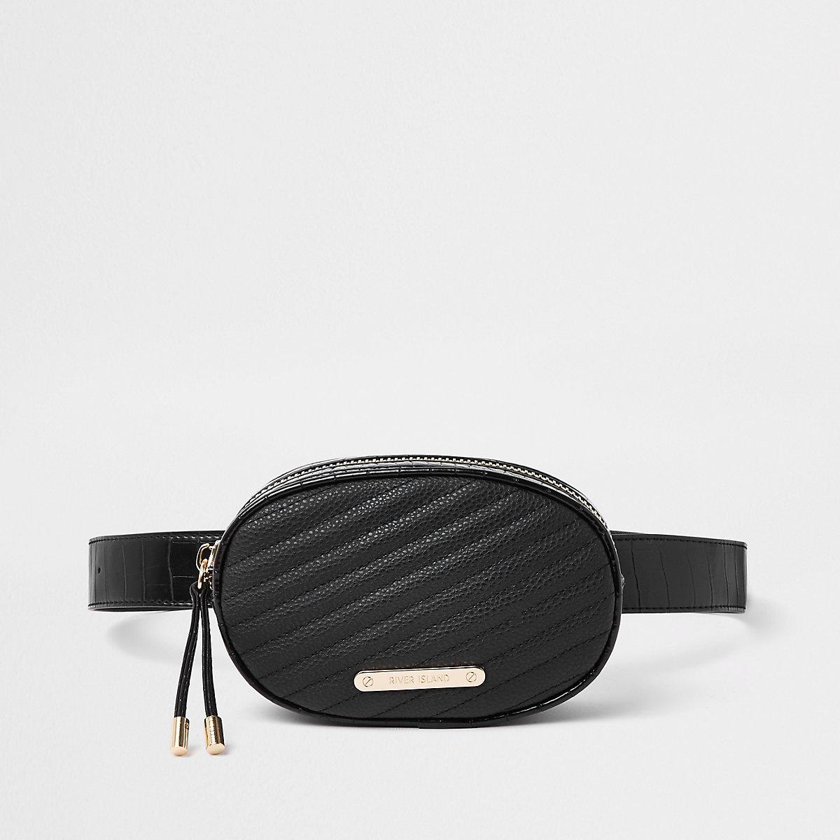 Black croc quilted circle belt bum bag