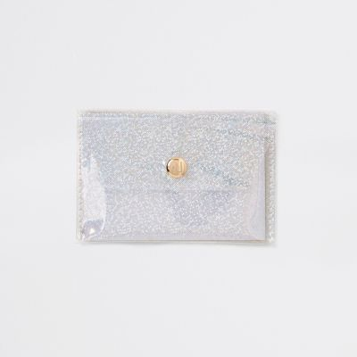 White Glitter Perspex Coin Purse by River Island