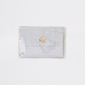 White glitter perspex coin purse