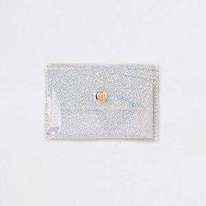 White glitter perspex coin purse