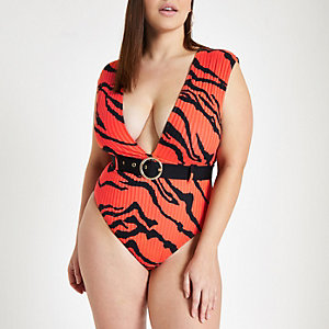 Plus red tiger print plunge neck swimsuit