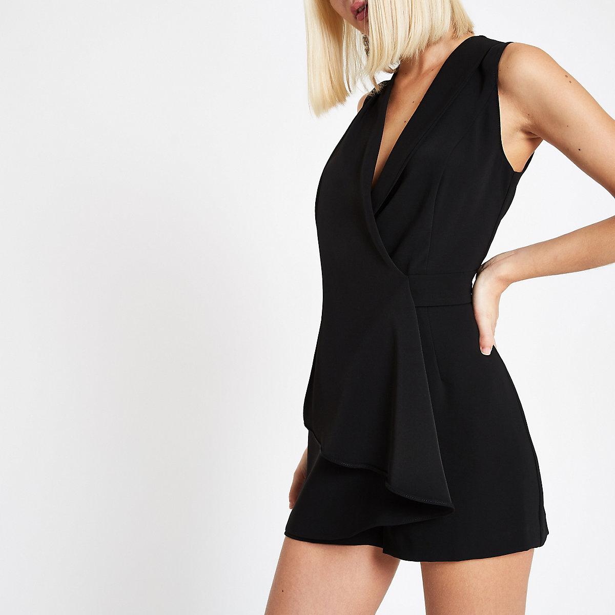 Black wrap front sleeveless playsuit