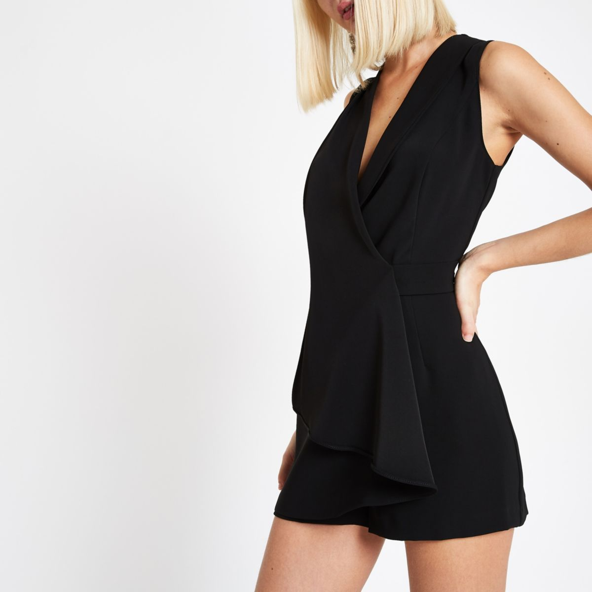 Black wrap front sleeveless romper