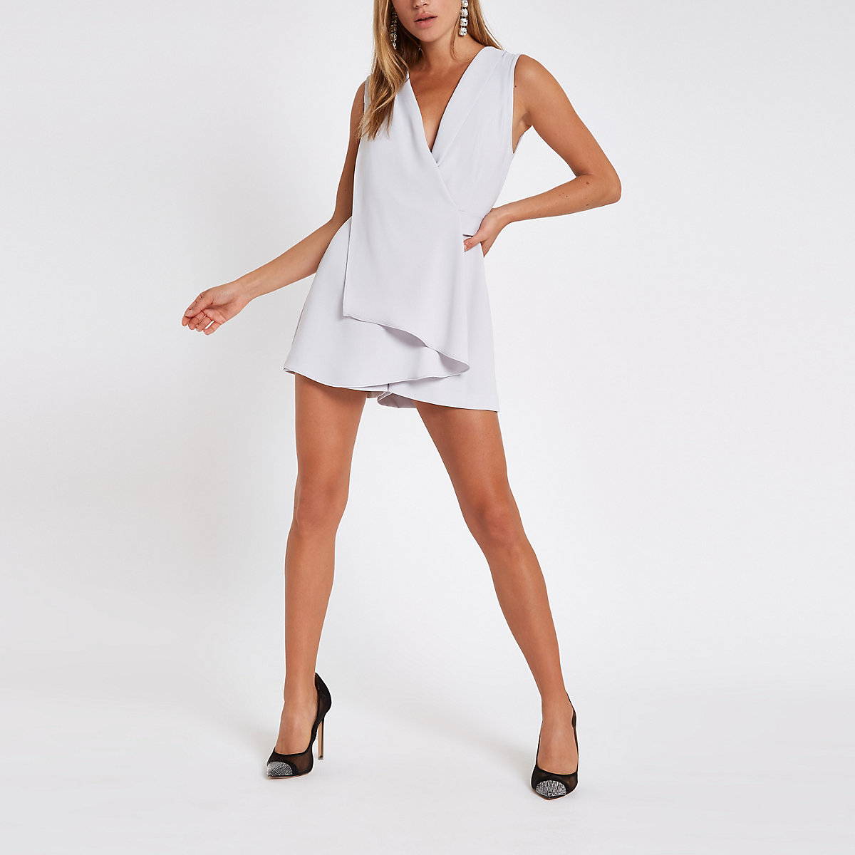 Grey wrap front sleeveless romper